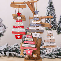 Christmas Wooden Pendant Hanging Door Decor Xmas Tree Stars Home Party Ornaments