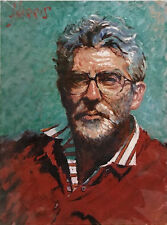 Self Portrait Striped Shirt by Rolf Harris - New,Signed & Numbered. Canvas Board
