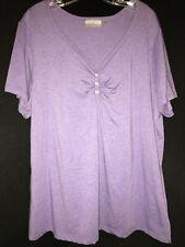 Avenue Womens Purple Button Front V neck cap sleeve Shirt Size  2XL 18/20