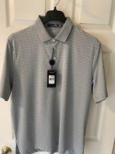 RLX Ralph Lauren Golf Polo Biltmore Grey W/ White Stripe Large