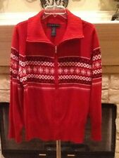 WOMENS PLUS SIZE SWEATERS RED L/S ZIP COLLAR BLOUSE BY JOSEPHINE CHAUS SZ XXL