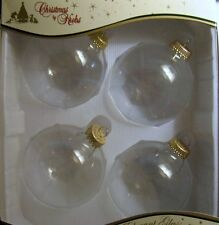 Set 4 Christmas By Krebs 3.25 inch Clear Fillable Glass Ornaments USA Made