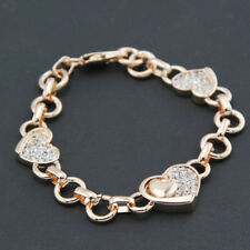 New 18K Rose Gold Filled Solid Lovely Fashion Heart Charm Bracelet Bangle 8''