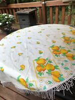 """Vintage MCM Tablecloth Fringe Vinyl Peaches And Pears 49"""" Kitsch Round"""