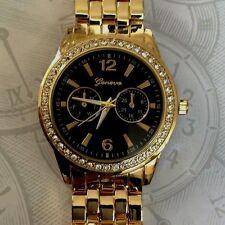 Geneva Gold Oversize Watch Crystal Designer Style Black Round Dial Linked Band!