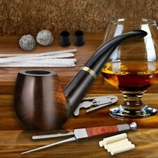 Tobacco Pipe Handmade Ebony Wood Root Smoking Pipe Gift Box and Accessories