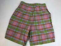 "Vintage 1960s 100% Cotton Pink Plaid High Waisted Side Zip Shorts 25"" Medium"
