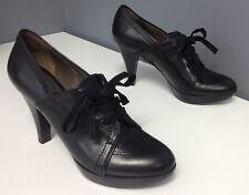 GRYSON Black Leather Slight Platform High Heel Lace Up Oxford Shoes Sz 36 B4443