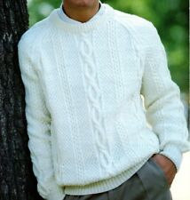"#289 MANS ARAN CREWNECK SWEATER 32-48"" VINTAGE KNITTING PATTERN"
