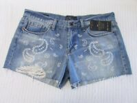 Lucky Brand Size 31 Mid Blue Wash Distressed Denim Paisley Print Cut Off Shorts