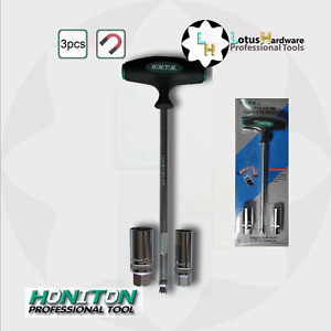 """Spark Plug Socket T-handle Wobble Tech Magnetic 3/8"""" inc 16mm and 21mm set 3pcs"""