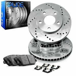 For 2017-2018 GMC Acadia Front eLine Drilled Brake Rotors + Ceramic Brake Pads