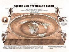 Flat Earth Map - 3 Square and Stationary Earth Orlando Ferguson- Poster 24 x 18
