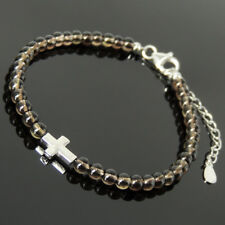 Cross Bead Gemstone Bracelet 4mm Smoky Crystal Quartz Sterling Silver Chain 1713