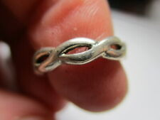STERLING SILVER 925 ESTATE PETER STONE CELTIC WEAVE BAND RING SIZE 3