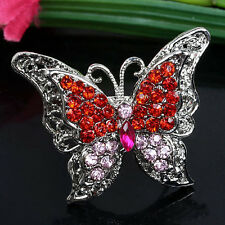 Fashion Hot Womens Red Crystal Butterfly Adjust Cocktail Party Finger Ring Us8