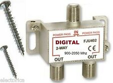 2 Ghz 2-WAY DIGITAL COMBINER SPLITTER HD TV/DTV OTA ANTENNA HDTV UHF VHF
