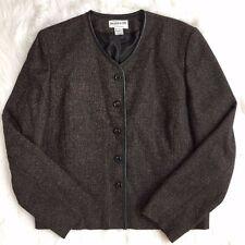 Pendleton Womens 16 Wool Blend Black Brown Tweed Lined Blazer Career Work Jacket