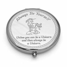Personalised Engraved Compact Mirror Always Be Yourself Unicorn Quote Mums Gift