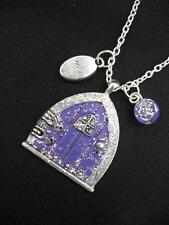Purple Fairy Wish Door Gemstone Silver Fae Pagan Necklace Hobbit Fantasy Silver