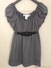 STUDIO M Women's Gray Silky Puff Sleeve Embellished Holiday Blouse Size Medium