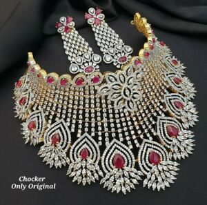 Indian Bollywood Style CZ AD Gold Plated Jewelry Choker Necklace Jewelry Set