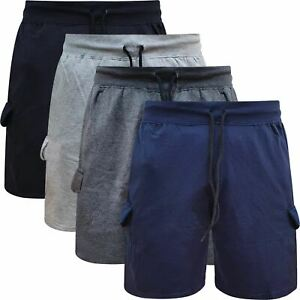 Mens Fleece Cargo Shorts Combat Jogging Elasticated Waist Jersey Plain Gym Pants