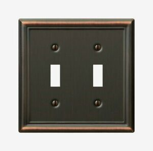Amerelle Chelsea Aged Bronze TOGGLE WALL PLATE 2 Gang Stamped Steel 1pk 149TTDB