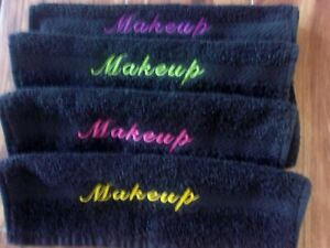 MAKEUP REMOVAL BLACK WASH CLOTHS VARIETY COLORS SCRIPT MAKEUP EMBROIDERY SET OF4