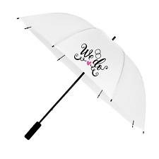 White Wedding Umbrella with We Do Print Design - Big Enough for Bride & Groom