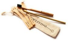 Bamboo Starter Pack, Cutlery Set, Straw & Toothbrush, Reusable With Carry Case