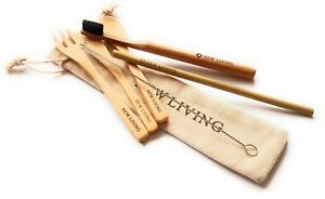 Bamboo Starter Pack, Cutlery Set, Straw & Bamboo Toothbrush, With Carry Case