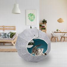 3-in-1 Cat Pet Felt Cave Kitty Feline Ball Warm Shelter Sleeping Mat Bed House