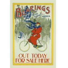 "Bearings - Winter Riding Vintage Bicycle art poster Cycling Poster 18"" x 24"""