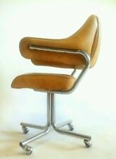 4 Vintage MidCentury Danish Clam Faux Leather Chromcraft Chair Office Cantilever