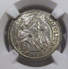 1699 IA AUSTRIA TOP POP 1 Finest Known! Graz SILVER 3 KREUZER I LEOPOLD NGC-MS62