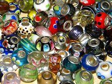 NEW LOT Charm GLASS, Murano, & European (30/pcs lot) Assorted Style MIX BEADS