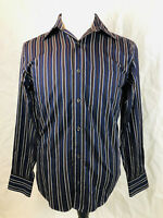Country Road S Mens brown purple silver striped long sleeve cotton dress shirt