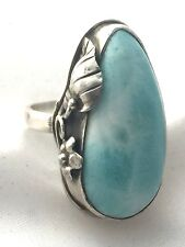 Vintage Larimar Turquoise Ring with Flower Leaves Size 5.25 11.4g