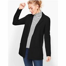 NWT Talbots Wool Blend Open Front Sweater Blazer Black, Size Petite Small