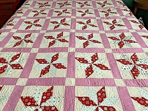 Antique Hand Sewn Hand Quilted 8 Point Lemoyne Star Full Size  Feedsack Quilt