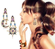 Sun Moon Dangle Earrings Shiny Rhinestone Ear Stud Boho Statement Ear Jewelry