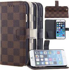 Iphone 6/6s Luxury Grid Print Wallet Card Holder Flip Standing PU Leather Case