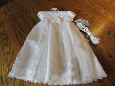 Picture Perfect White Dress & Headband By Sweetheart Rose Size 6M NWT $70