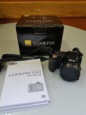 Nikon COOLPIX L110 12.1MP Digital Camera - Black 15x Wide optical zoom lens. A+