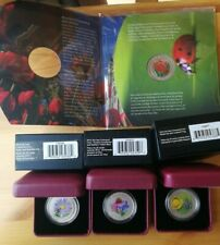 2011 2014 Canada 4 Coin Set Tulip Ladybug Bee Aster Coneflower Tailed Lily Frog