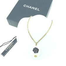 Chanel Necklace Pendant COCO White Black Woman Authentic Used Y4376