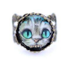 Ornate adjustable Cheshire cat ring. Alice in Wonderland