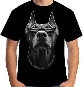 Velocitee Mens T-Shirt Cool Doberman Gangster Mafia Mob Thug Dog Biker A15047