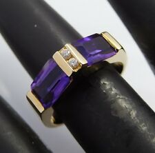 Modern 14k Yellow Gold, Amethyst and Diamond Ring - 5.1 g - Size 6 - Elegant!!